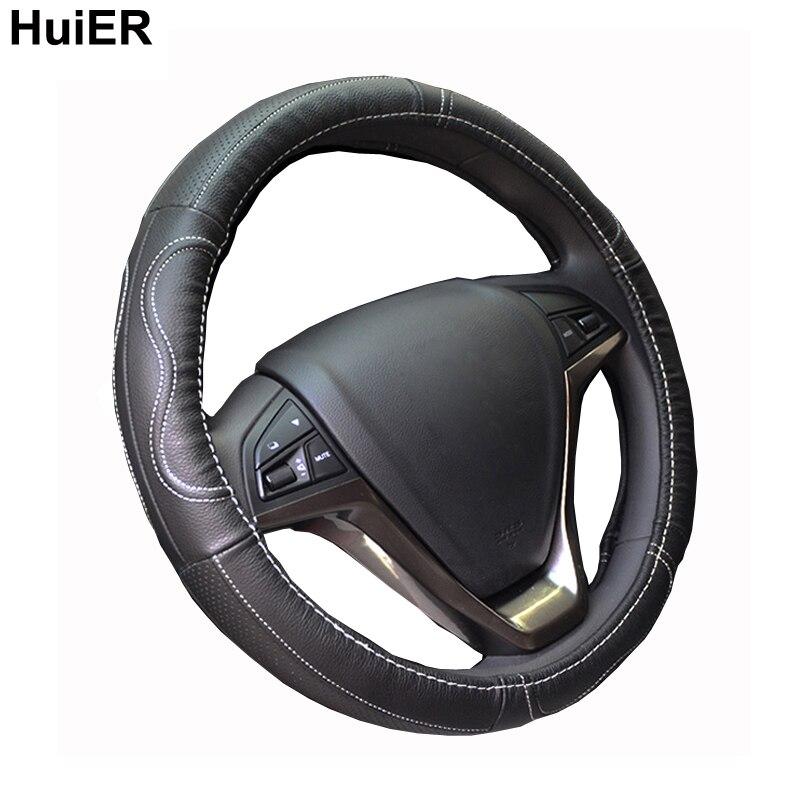 Huier cuero genuino cubierta del volante del coche 38 cm para Lada Granta largus, Kalina, Renault, kia, Hyundai, VW Jetta envío gratis
