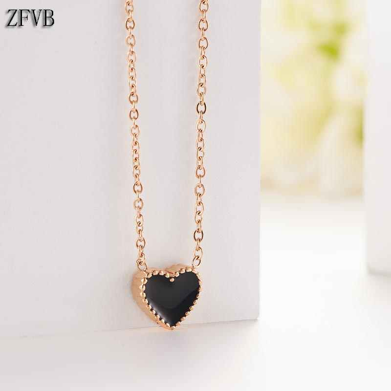 ZFVB Fashion Heart Necklace for Women Short Clavicle Chain Rose Gold Silver color Wedding Pendant Chokers Necklace Jewelry Gift
