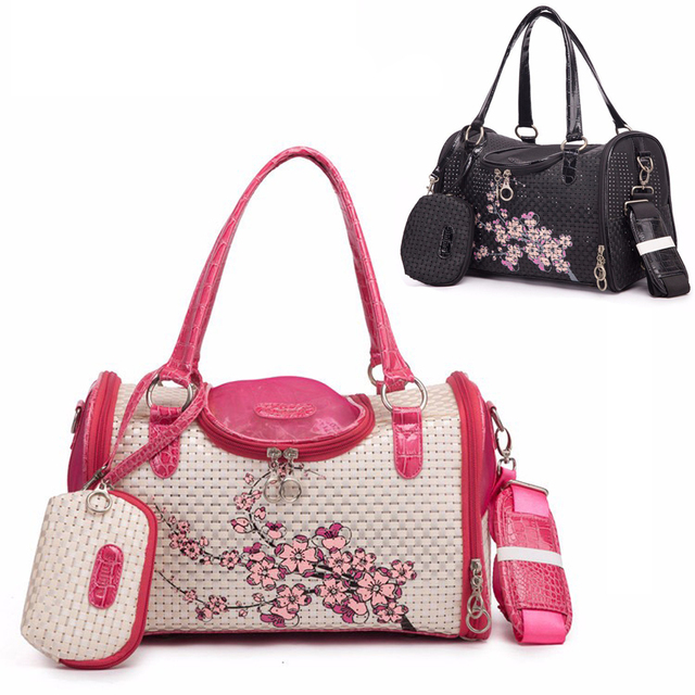 Breathable Print Pet Carrier Bag Travel Outdoor Shoulder Dog Purse  Messenger Bag for Small Dog Cat Puppy Cat Animal Pink Black c79f01862c693