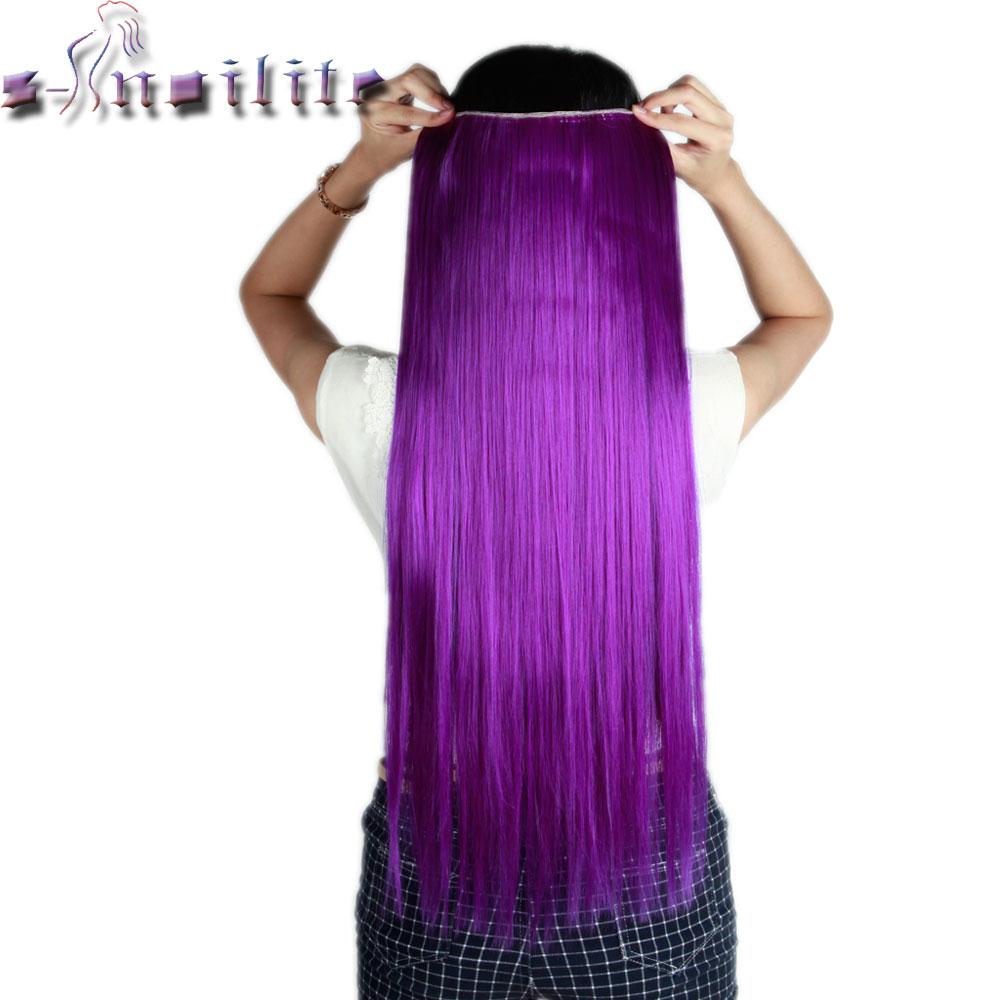S Noilite Long Dark Purple Straight 68cm Clip In Full Head Hair