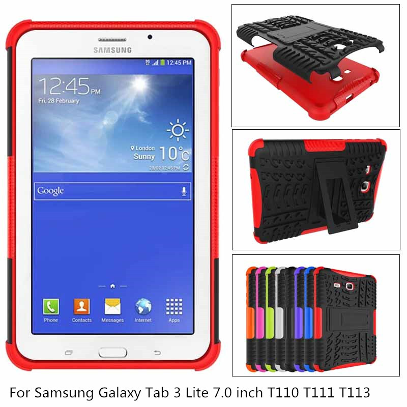 2 in 1 TPU + PC Armor Shockproof Non-Slip Stand Tablet <font><b>Case</b></font> Cover For <font><b>Samsung</b></font> <font><b>Galaxy</b></font> <font><b>Tab</b></font> 3 Lite <font><b>7.0</b></font> T110 T111 T113 SM-T110 + pen image