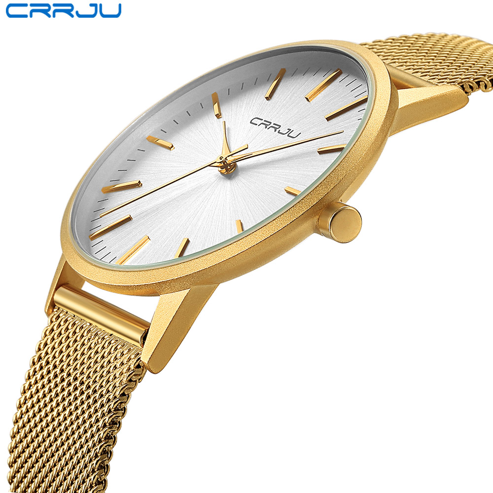 CRRJU Ultra Slim Gold Watch Men Luxury Business Man Watch Golden Waterproof Unique Fashion Casual Quartz Male Dress Clock Gift luxury men gold watch top brand antique unique style dress business man quartz watch gimto simple casual male golden clock