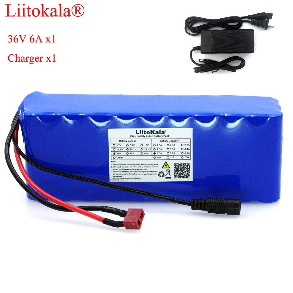 Liitokala 36 V 6Ah 10S3P 18650 batterie Rechargeable, vélos modifiés, Protection de véhicule électrique avec PCB + 42 V 2A chargeur