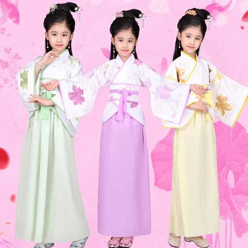 Hanfu Kids Traditional Costume Fairy Princess Dress Girls Tang Dynasty Ancient Suit Chinese Folk Dancer Kids Stage Wear DN2575