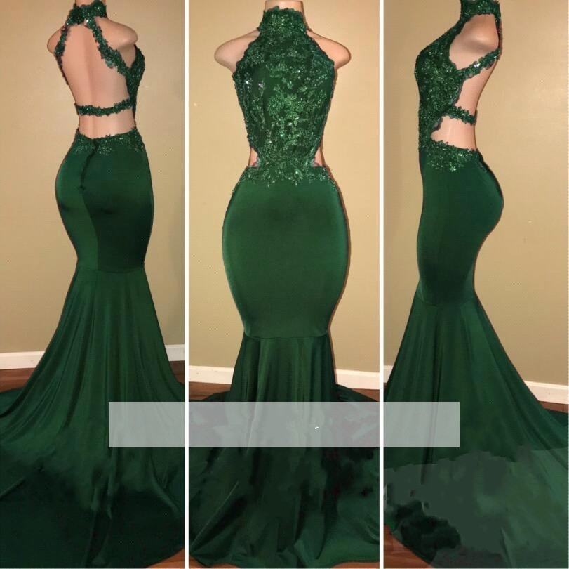 Long   Prom     Dresses   2019 Sexy Beaded Lace Top High Neck African Black Girl Backless Green Mermaid   Prom     Dress   Gowns