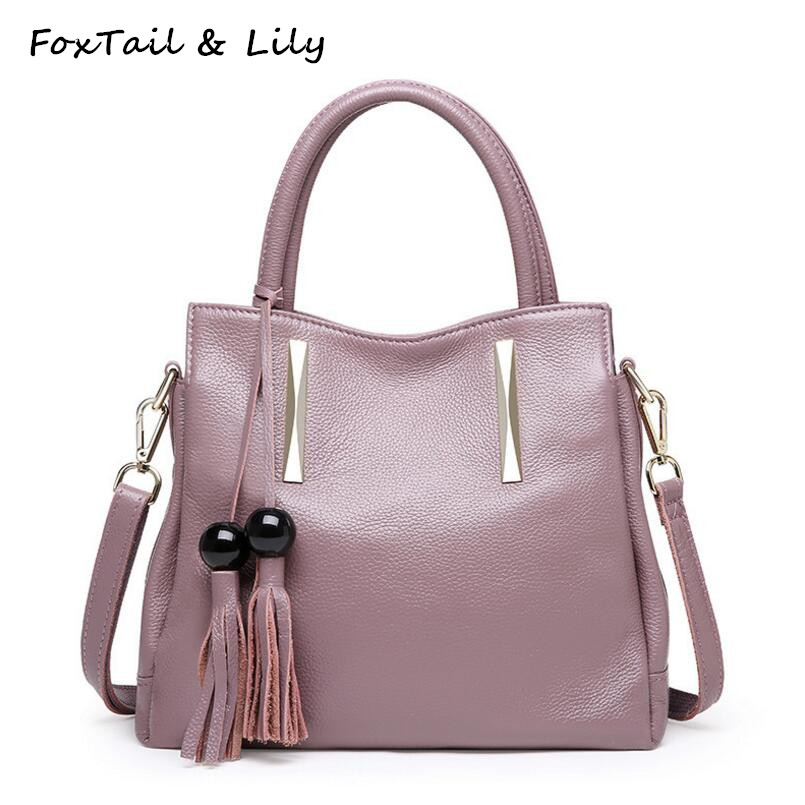 FoxTail & Lily Summer New Genuine Leather Shoulder Crossbody Bag Fashion Tassel Women Messenger Bags Real Soft Leather Handbags women genuine leather shoulder bag tassel messenger bags real leather cowhide spring summer shoulder bags small crossbody bags