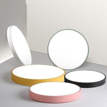 Современный ультра-тонкий крусветодиодный говой светодиодный потолочный светильник конфетного цвета детская комната свет кабинет спальн...