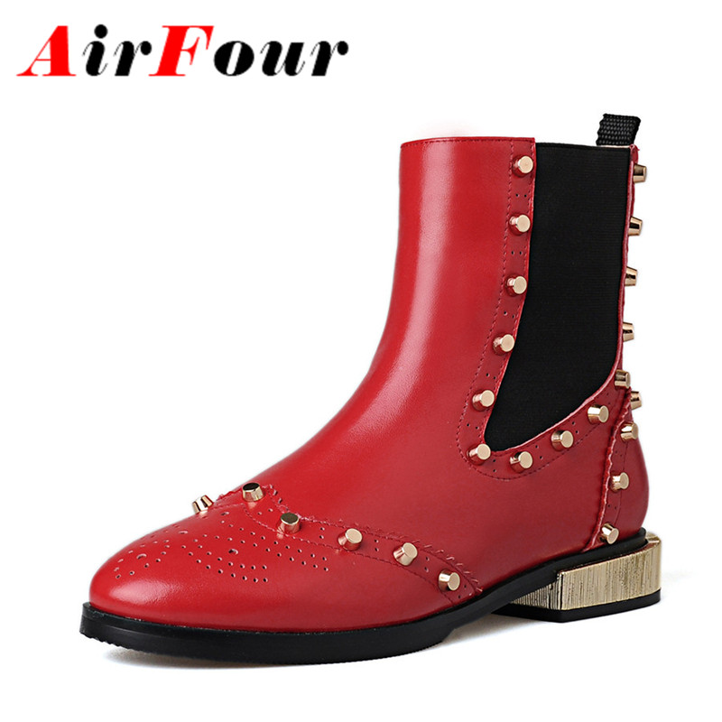 ФОТО Airfour New Fashion Rivets Ankle Boots Women Heavy Metal Autumn Spring Girl  Shoes Woman Comfortable Low Heels Motorcycle Boots