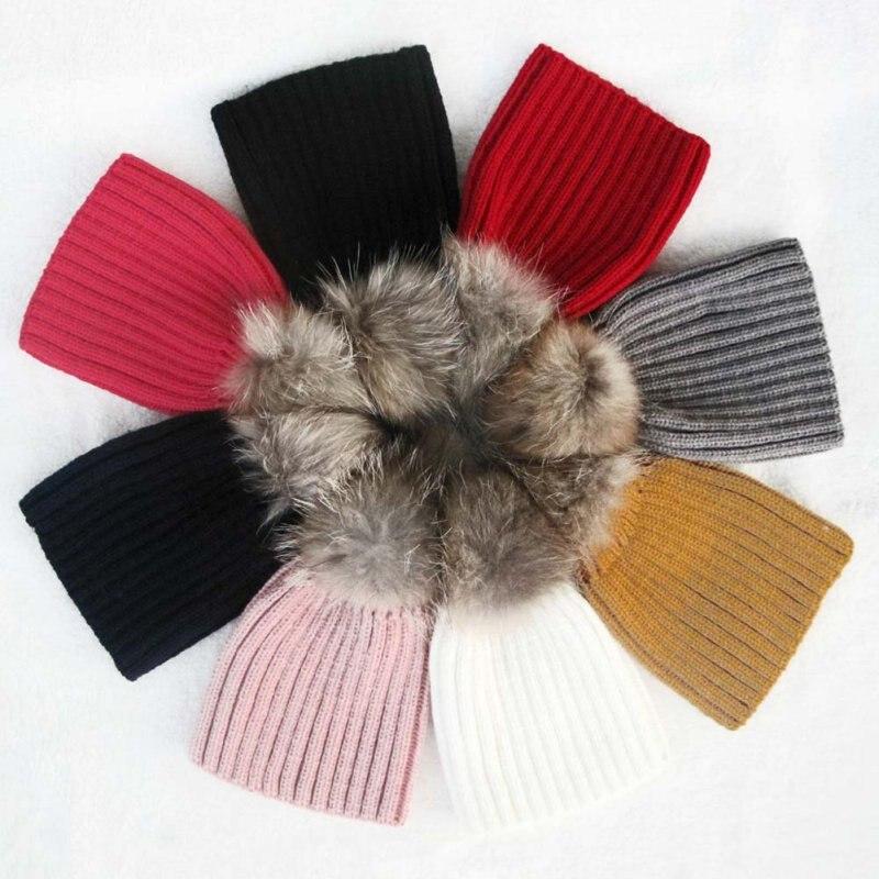 Baby Hat cute Beanie Raccoon Fur Pom Bobble kids Woolen Hat Kids Warm Crochet Hat Kawaii Baby Winter Hat Hirls S2