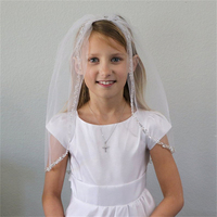 Short Beaded Edge Wedding Flower Girls First communion Veils With Comb Children Kids Tulle Veil Voile Fille velo de Novia 2019