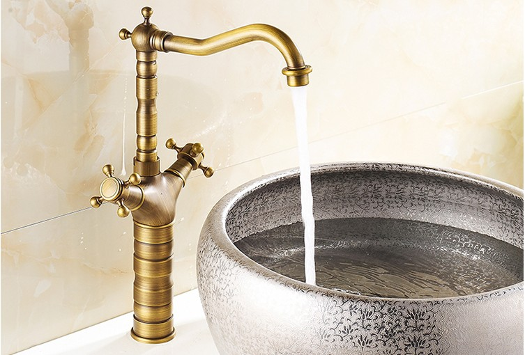 цены New arrival Bathroom Antique Brass Faucet /Fashion wash basin faucet /Cold&Hot water Dual Handle basin faucet Free shipping