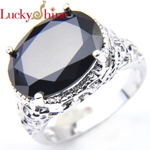 5b45a657ed04 € 3.92 10% de DESCUENTO|Luckyshine nuevo anillo de circón de cristal  ovalado Chapado en plata PIEDRA DE ónix negro para mujer anillo de joyería  ...