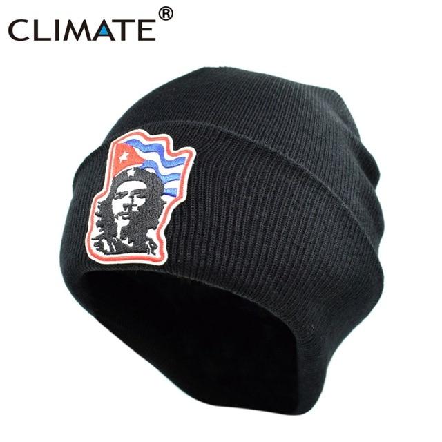 CLIMATE Men Women Black Winter Warm Beanie Hat Ernesto El Che Guevara Warm  Knitted Beanies Hip Hop Hat For Adult Men Women Youth e77f4fdf223