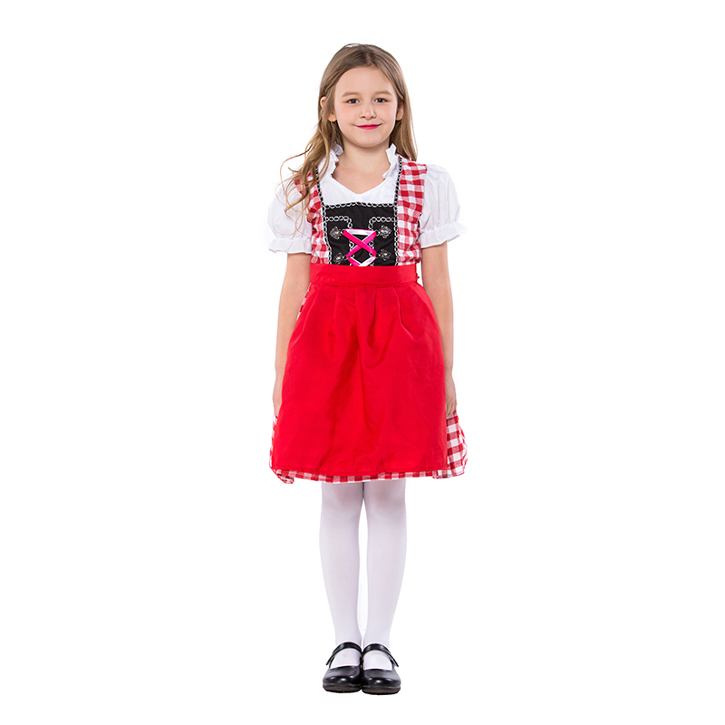 Children's German Traditional Costumes Bavarian Red and White National Costumes Oktoberfest Event Costumes Girls with Red Apron