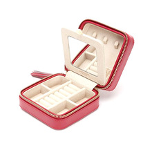 11*11*6.5 cm Jewelry Box Zipper Leather Jewelry Storage Organizer Box Portable Travel Jewelry Case with Mirror Gift Box for Girl