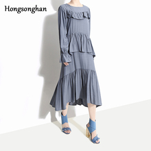 Hongsonghan Spring dress size womens show thin long puff streetwear sleeve solid color pleated cascading ruffles