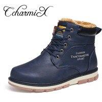 CcharmiX Snow Men Boots Pu High Quality Winter Working Men Boots Lace Up Waterproof Warm Fur