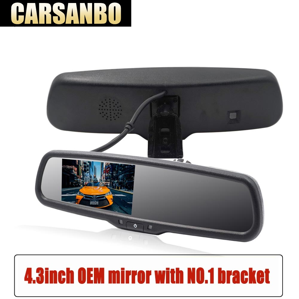 Carsanbo Newest 4.3inch OEM rearview mirror Special Bracket with auto brighenss change Reverse mirror Car Rear View TFT LCDCarsanbo Newest 4.3inch OEM rearview mirror Special Bracket with auto brighenss change Reverse mirror Car Rear View TFT LCD