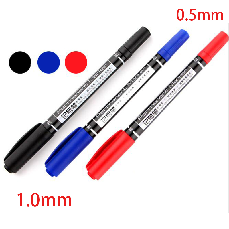 Deli Wholesale 3 Pcs Color Double Tip 0.5 / 1 Mm Quick Dry Permanent Sign Markers For Metal Fabric Quality Fineliner For Drawing
