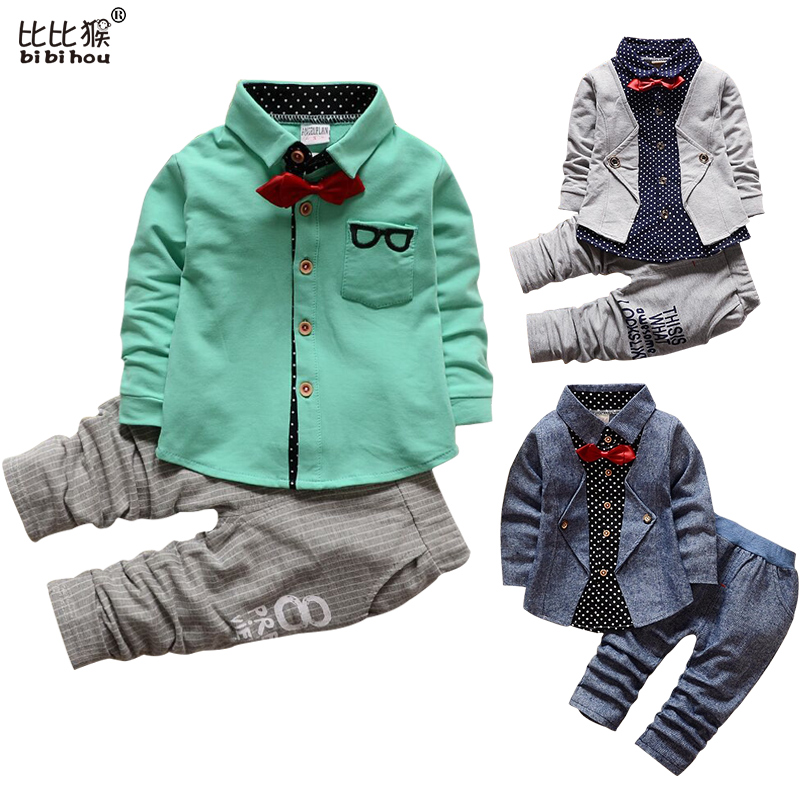 1-5yrs Kids Clothes Sets Spring Autumn warm Baby Boys Kid Long Sleeve Gentleman Suits Children shirt+Pants 2Ps Boys Clothes boys clothes brand 2017 autumn boys gentleman set baby boys striped long sleeve shirt denim long overalls pants 2pcs sets 4