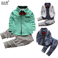 1-5yrs Kids Clothes Sets Spring Autumn warm Baby Boys Kid Long Sleeve Gentleman Suits Children shirt+Pants 2Ps Boys Clothes