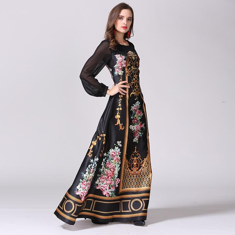 2016 Designer Maxi Dress Women s High Quality Charming Vintage Printed Perspective Sleeve Patchwork Elegant Long