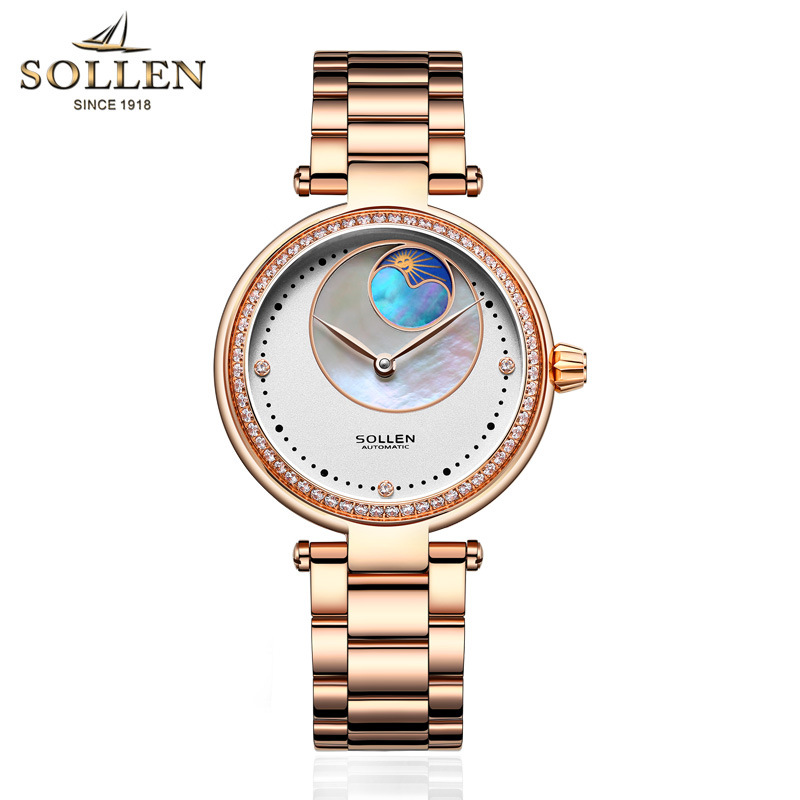 Women Fashion Automatic Mechanical Watch Women Steel Leather Casual Dress Watch Rose Gold Wristwatches Reloje Mujer Montre FemmeWomen Fashion Automatic Mechanical Watch Women Steel Leather Casual Dress Watch Rose Gold Wristwatches Reloje Mujer Montre Femme