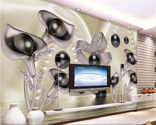 beibehang Fashion high indoor wallpaper 3D calla butterfly water wave reflection television background wall 3d tapety