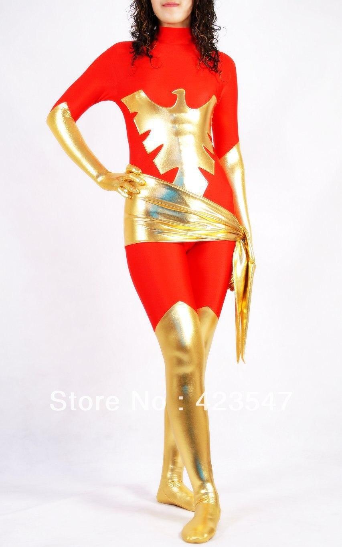 Red Phoenix Woman Warrior X-men Phoenix Spandex Superhero Costume Halloween Costumes