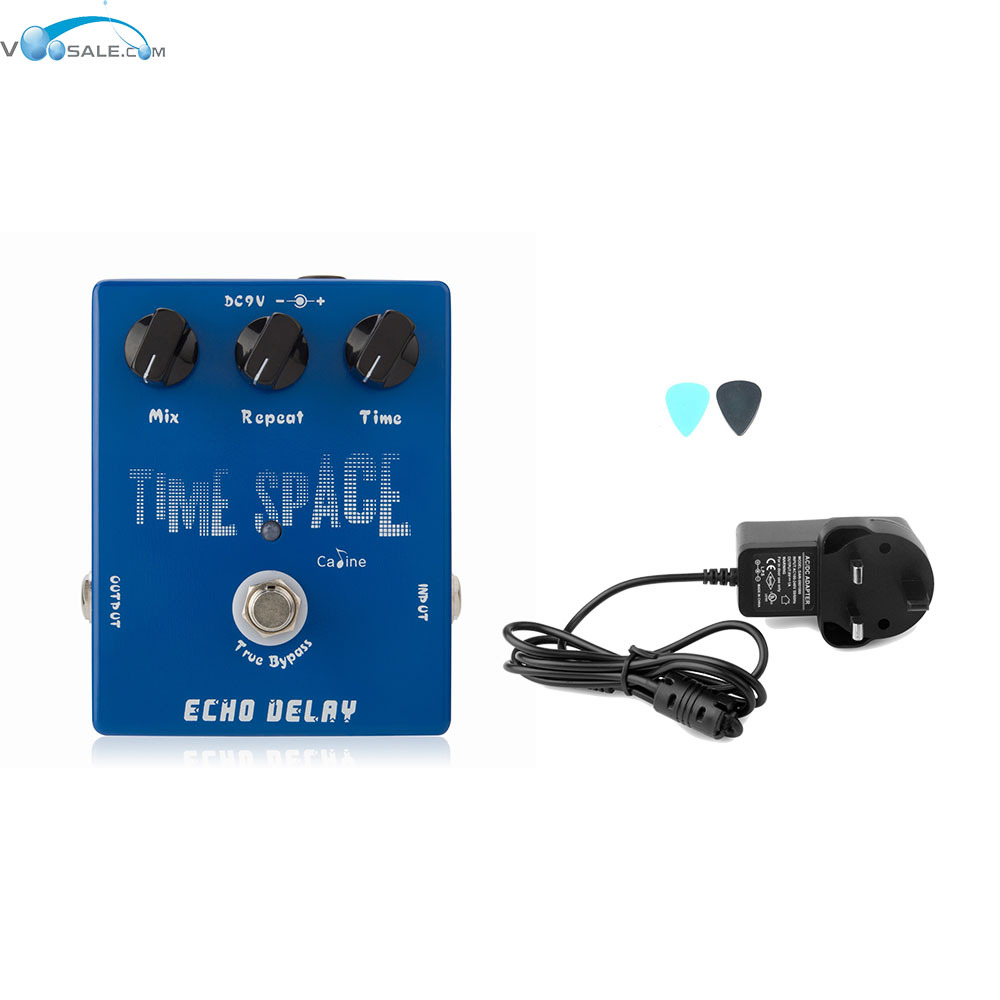 Caline CP-17 Echo Delay Guitar Effects Pedals with Ture Bypass Silver+AC100V-240V to DC9V/1A Adapter Use Have AU UK US EU Plug caline cp 10 hot mushroom compressor digital guitar effects pedal ac100v 240v to dc9v 1a adapter use have au uk us eu plug