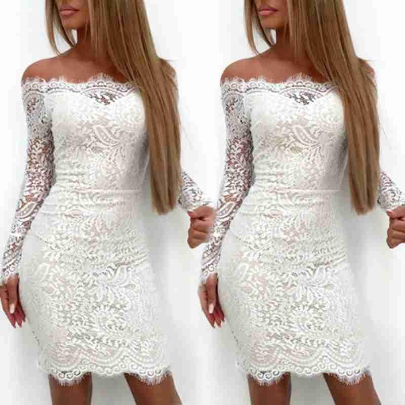 Womens Lace Party Dress Ladies Mini Bodycon Evening Dress Uk Size S M L