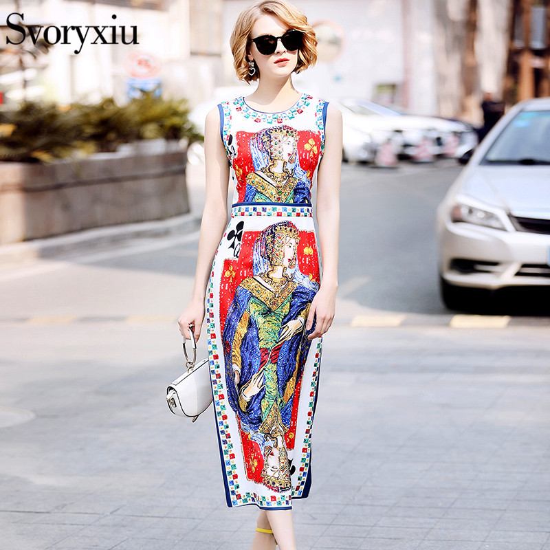 Svoryxiu Milan Catwalk Runway Designer Dress Womens High Quality Sleeveless Luxurious Beading Cards Printing Party Midi Dress