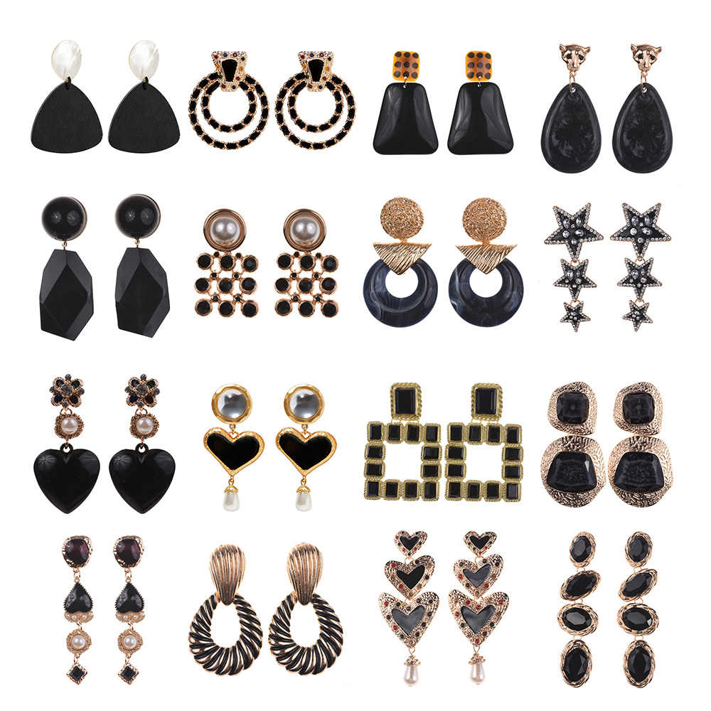 PPG&PGG 2019 Ethnic crystal dangle statement dangle earrings wedding Jewelry Vintage big black boho za earrings for women