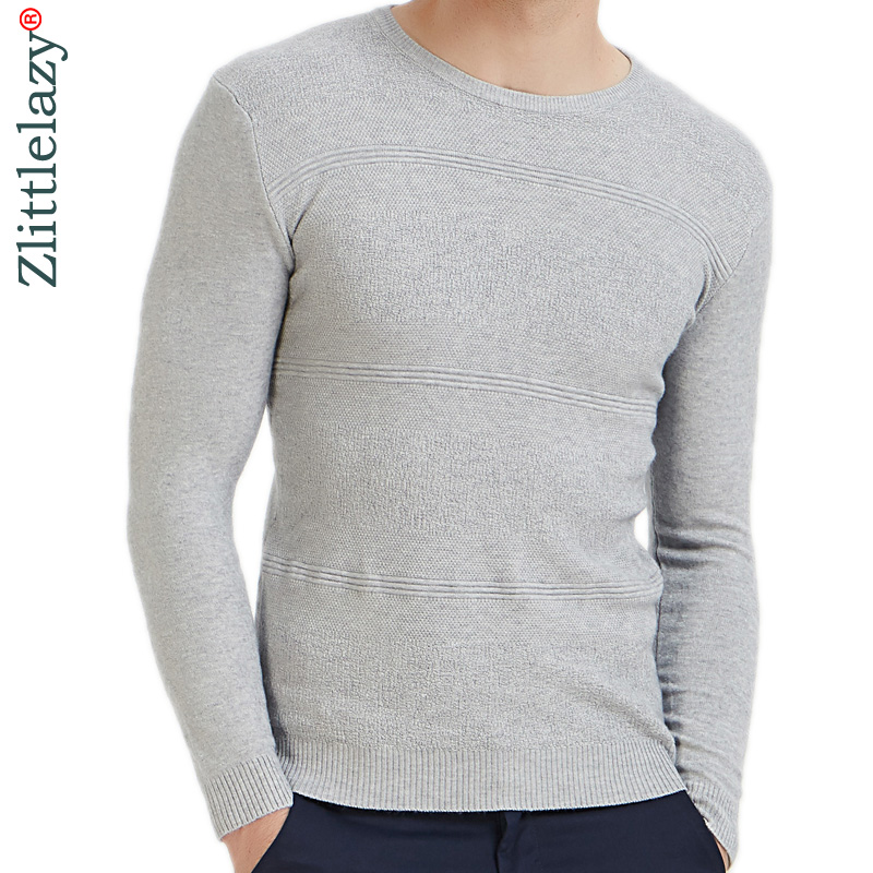 2019 Casual Slim Fit Pullover Men Sweater Solid Elastic Thin O-neck Sweaters Mens Autumn Winter Underwear Pull Knit Jersey Grey
