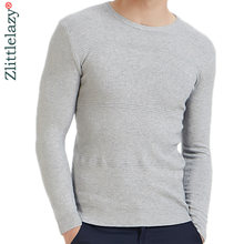 2019 casual slim fit pullover men sweater solid elastic thin O-neck sweaters mens autumn winter underwear pull knit jersey grey(China)