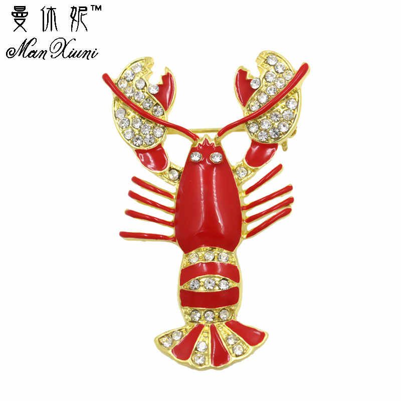 Women's brooch Large Red Crayfish Lobster Enamel and Crystal Diamante Brooch Pins for Women