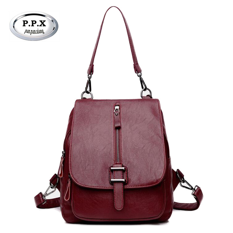 P.P.X Fashion Women Backpacks Women's PU Leather Backpacks Female School Shoulder Bags Girls Travel Mochila Feminina 2018 M706 doodoo fashion streaks women casual bear backpacks pu leather school bag for girl travel bags mochilas feminina d532