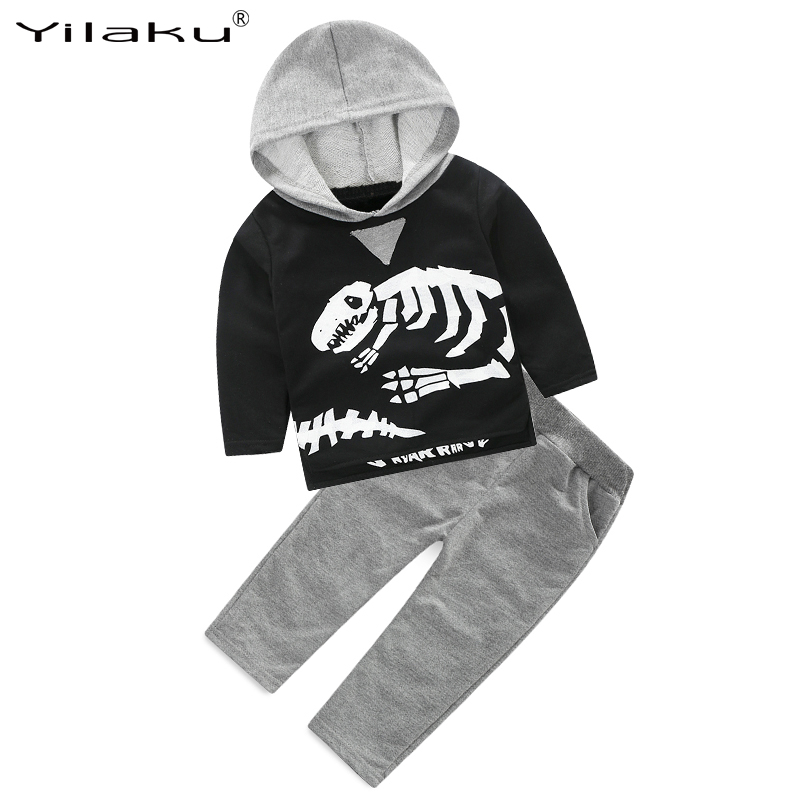 best value well known wholesale outlet Kids Tracksuit Dinosaur Printed Tops Hooded Shirts+Long Trousers ...