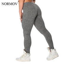 NORMOV S-XL 3 Colors Casual Push Up Leggings Women Summer Workout Polyester Jeggings Breathable Slim Leggings Women cheap High Knitted Standard Ankle-Length Solid Legins Women Leggins Mujer Sport Leggings Trousers Women Classic Trousers Female