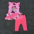 1-2yrs al por menor de La Niña de Minnie Vestido acodado y Legging Set minnie mouse vestido de dos piezas conjuntos