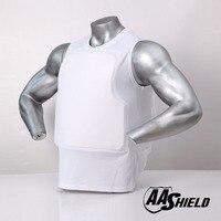 AA Shield Bullet Proof Vest Body Armor Comfortable Shirt Teijin Aramid Core Self Defense Supply T shirt White NIJ IIIA & HG2 XL
