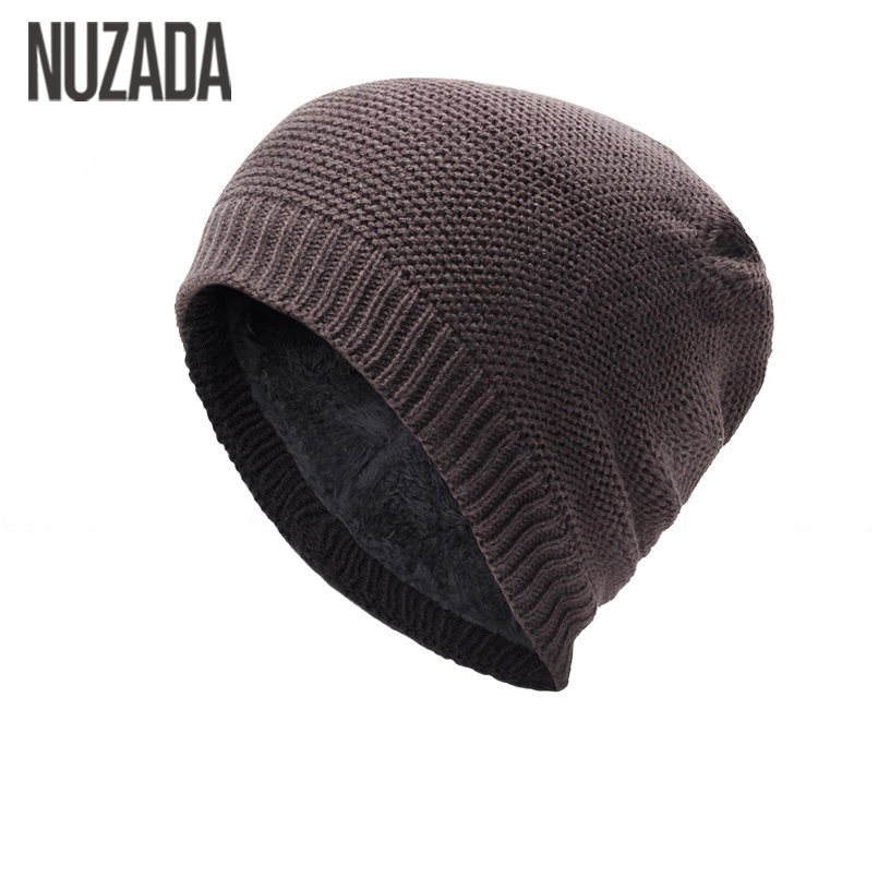 Brand NUZADA Keep Warm Winter Thickening Men Women Skullies Beanies Internal Plush Hedging Cap Knit Knitting Caps Bonnet Hat 35colors silver gold soild india scarf cap warmer ear caps yoga hedging headwrap men and women beanies multicolor fold hat 1pc