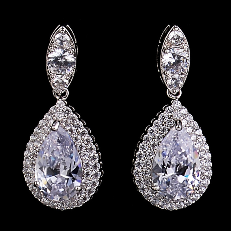 Choice Big Dangle Drop Cubic Zirconia CZ Women Clip on ...