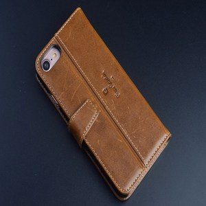 Image 2 - Pierre Cardin Brown Genuine Leather Case For Apple iPhone SE/5S 6/8/7 Plus Skin Cover Flip Case Open Up and Down