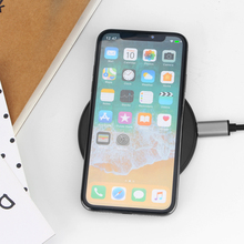 Wireless Charger Thin Round Black Pad Glass Board Surface Quick Charging for Recharge Mobile Phone