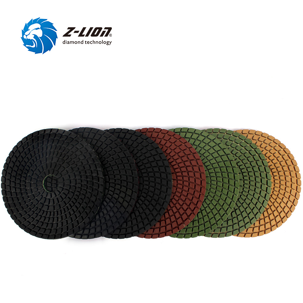 Z LION 7pcs Set 5 125mm Flexible Diamond Polishing Pads For Granite Marble Concrete Wet Polishing