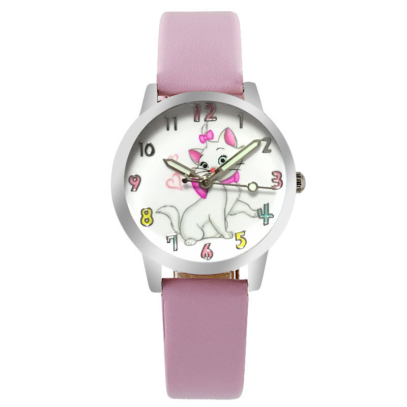 Relogio Pink Cartoon Cute Cat Girl Clock Brand Quartz Leather Children's Watch Casual Boy Sports Birthday Kid  Gift Watch