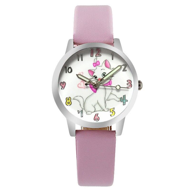 Relogio Pink Cartoon Cute Cat Girl Clock Brand Quartz Leather Children's Watch Casual Boy Sports Birthday Kid  Gift Watch
