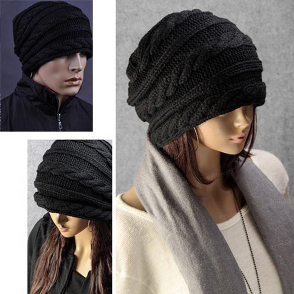 37f7534b713 Winter Black Oversized Knit Baggy Beanie Slouch Hat Unisex Fashion Gift-in  Skullies   Beanies from Apparel Accessories on Aliexpress.com