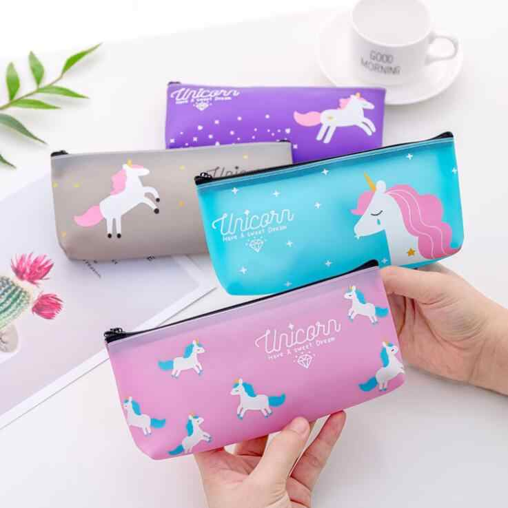 1 Pieces Lytwtw's Kawaii Cute Unicorn Pen Pencil Bag Silicon School Stationary Receive Tools Makeup Pouch Cosmetics Case